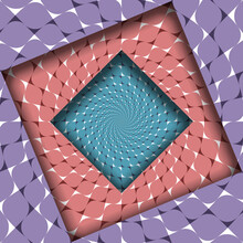 Trippy Shifted Frames With Moving Purple, Red And Blue Patterned Surfaces. Optical Illusion Dizzy Background.