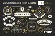 Vintage Typographic Decorative Ornament Design Elements Set Vector Illustration