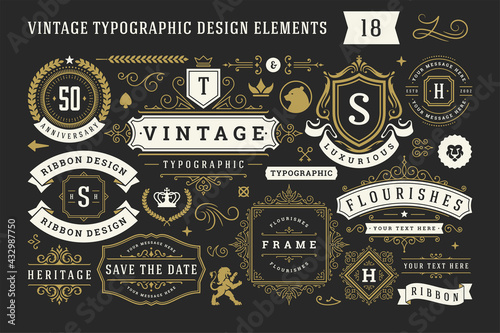 Fototapeta Vintage typographic decorative ornament design elements set vector illustration obraz