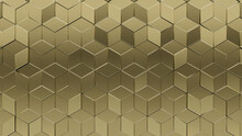3D, Diamond Shaped Mosaic Tiles Arranged In The Shape Of A Wall. Gold, Polished, Bullion Stacked To Create A Glossy Block Background. 3D Render