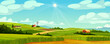 Green fields landscape of farmland, barns and farms, rural houses and windmills. Vector pasture with buildings, green grass, meadows and trees, blue sky on background. Country agriculture farmland