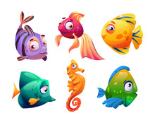 Fish And Seahorses Isolated Cartoon Characters Set. Vector Marine Underwater Animals, Aquarium Tank Pets Collection. Freshwater, Saltwater Exotic Fauna. Fishery Mascots, Decorative Tropical Creatures