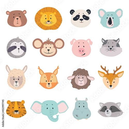 Naklejka premium Animal faces. Cute doodle head of bear, lion and panda, monkey and pig, tiger. Elephant, cat and deer, behemoth vector cartoon characters. Safari and wild forest adorable cartoon animals