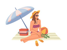 Woman In Bikini Swimsuit Sitting On Blanket Under Umbrella, Sunbathing On Beach Flat Cartoon Character. Vector Lady In Straw Hat And Sunglasses Chilling On Seashore, Rest On Holiday Vacation