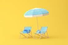 Minimal Scene Of Beach Chairs And Umbrella On Yellow Background, Summer Concept, 3D Rendering.