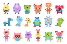Fluffy Toy Sewn From Textile And Stuffed With Flexible Material For Kids Vector Set