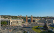 Cityscape view of Venetian towers and National Palace of Montjuic, Plaça Espanya, Barcelona, Spain