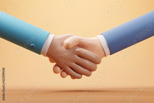 Fototapeta Handshake of business partners, Successful deal, 3d render. obraz