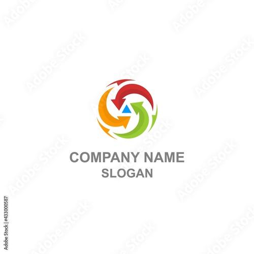 Fototapeta Convergent arrow logo, abstract colorful mathematics symbol in unique shape