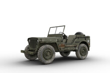 Front Side View 3D Illustration Of A Vintage Green Military 4x4 Vehicle Isolated On White.