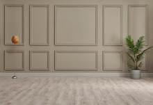 Classic Brown Wall Background, Interior Room, Carpet With Chair Style, Vase Of Plant Detail.