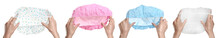 Collage With Photos Of Women Holding Different Shower Caps On White Background, Closeup. Banner Design