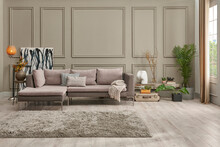 Grey Sofa In The Brown Wall,wooden Bench Poster And Frame Style, Carpet Chair.
