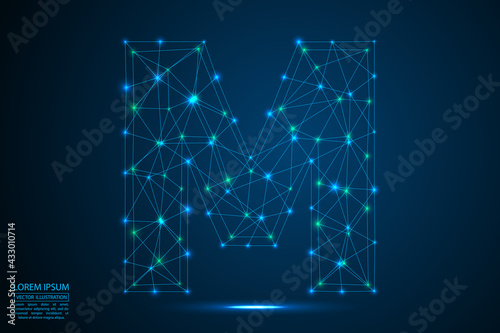 Abstract letters font is made up of triangles, lines, dots and connections. On a dark blue background, stars of the cosmic universe, meteorites, galaxies. Vector illustration eps 10. - fototapety na wymiar