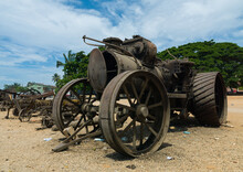 Antique Steam Traction Engines Displayed Along The Road, Benguela Province, Benguela, Angola