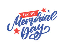 Happy Memorial Day - Stars And Stripes Letter