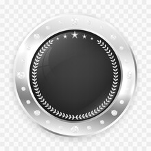 Circle Silver Badge Frame With Diamonds And Copy Space