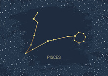 Hand Drawn Card Of Gold Pisces, Star, Brush. Constellation Celestial Space. Zodiac Horoscope Symbol, Star Astrology, Astrology Sign, Icon. Magic Space Galaxy, Vector Sketch Illustration