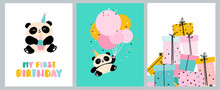 Cute Birthday Cards With Panda Bears. Bright Children's Holiday Design