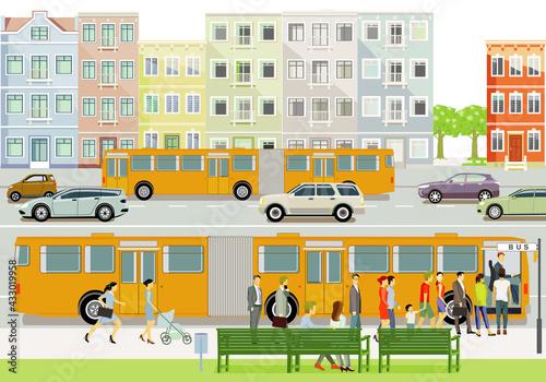 Linienbus auf der Bushaltestelle mit Fahrgästen Illustration - fototapety na wymiar