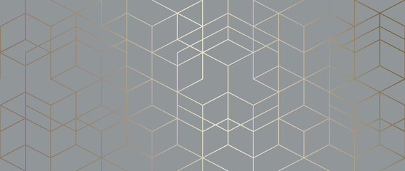 Luxury Gold Geometric pattern background vector. Abstract art wallpaper design with golden glitter, mountain, marble texture, line arts. Good for Wall home decor, canvas art, modern banner and prints.