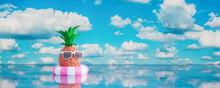 Pineapple With Sunglasses In Lifebuoy On Blue Sea. Summer Holiday Concept 3d Render 3d Illustration