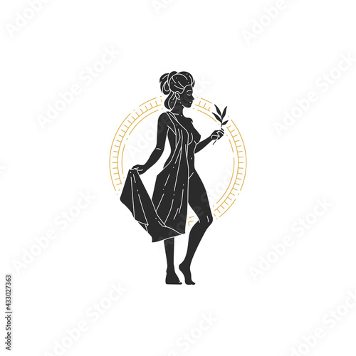 Fotografie, Tablou Beautiful bohemian woman goddess with branch and leaves silhouette