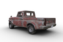 Rear Corner View 3D Rendering Ofl A Rusty Old Vintage Red Pickup Truck Isolated On White.