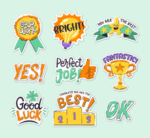 Sticker Collection To Reward The Job Well Done And Good Results. Perfect For Teachers And Kids. Hand-drawn Vector Drawings.