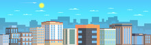 The Buildings Are Lined Up That Form The Street. The Weather Is Sunny In The Sky, An Airplane Is Flying Among The Clouds.