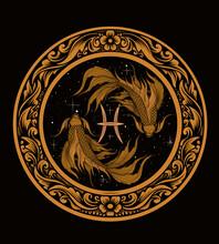 Pisces Zodiac Fish Circle Engraving Ornament