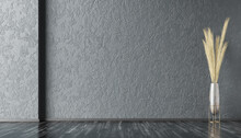 Interior Background Of Empty Room With Dark Gray Stucco Wall With Copy Space And Pot With Plant 3d Rendering
