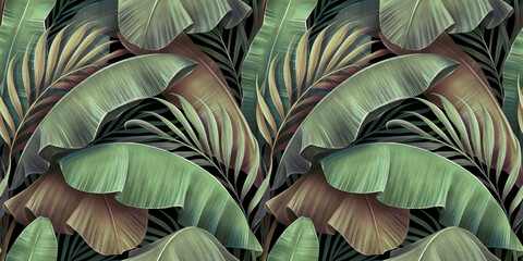 Tropical seamless pattern with beautiful palm, banana leaves. Hand-drawn vintage 3D illustration. Glamorous exotic abstract background design. Good for luxury wallpapers, cloth, fabric printing, goods