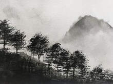 Watercolor Painting Landscape Mountain Fog Asian Art Styles.