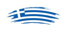 Artistic Grunge Brush Flag Of Greece Isolated On White Background