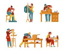 Artisan Vector Collection. Creative Professions And Hobbies Artists Set. Potter, Tailor, Carver, Sculptor, Carpenter, Painter. Handicraft Process.