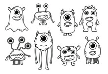 Vector Set Of Eight Cute Monsters. Funny Line Hand-drawn Aliens For Coloring Pages. Bundle Of Decorative Design Elements. Flat Vector Illustration.