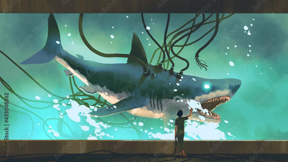 Leinwandbild Motiv - grandfailure : woman looking at the experimental shark in a big fish tank, digital art style, illustration painting