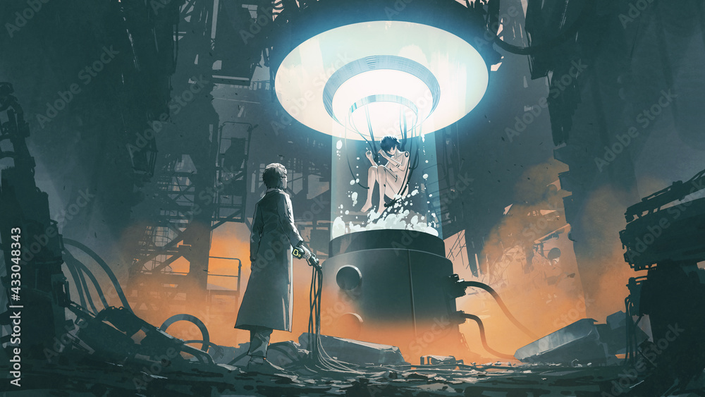 Leinwandbild Motiv - grandfailure : scientist holding a remote control and looking at a woman in a laboratory tank, digital art style, illustration painting
