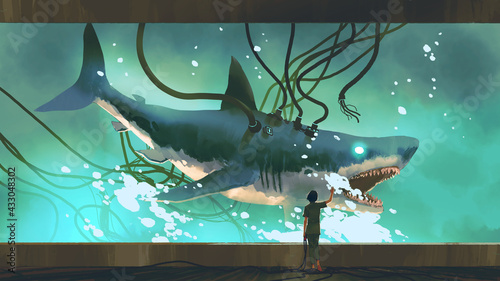 woman looking at the experimental shark in a big fish tank, digital art style, illustration painting