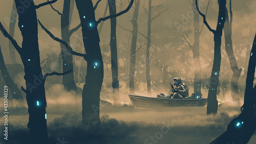 Fotografie, Obraz man in a protection suit rowing a boat in poison swamp, digital art style, illus