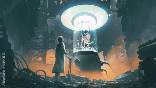 scientist holding a remote control and looking at a woman in a laboratory tank, digital art style, illustration painting
