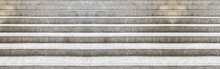 Panorama Of White Marble Staircase And Outdoor Granite Floor