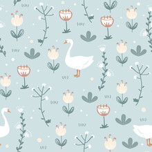 Cute Seamless Pattern With Goose And Doodle Flowers. Vector Illustration