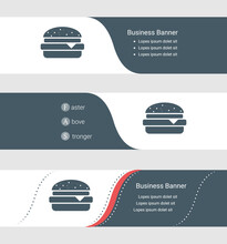 Set Of Blue Grey Banner, Horizontal Business Banner Templates. Banners With Template For Text And Hamburger Symbol. Classic And Modern Style. Vector Illustration On Grey Background