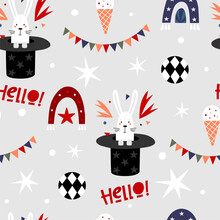 Modern Pattern The Circus Hare. Cute Circus Animals. Carnival Wrapping Paper. Design For Nursery, Fabric Printing, Postcard, Poster, Packaging. Hand Drawn Illustration.