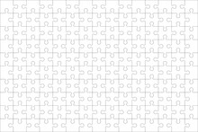 Puzzles Grid - Blank Template. Jigsaw Puzzle With 150 Pieces. Mosaic Background For Thinking Game Is 15x10 Size. Game With Details. Vector Illustration.