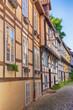Historischer Straßenzug mit Fachwerkbauten in Detmold, Nordrhein-Westfalen