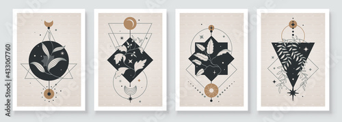 Fotografering Abstract contemporary art with celestial geometry shapes
