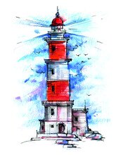 Lighthouse By The Sea. Ocean Waves Under The Sky
